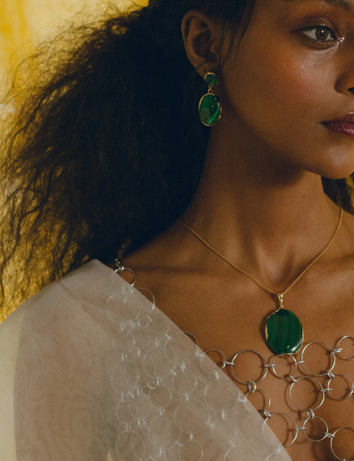 FARIS Jewelry | OVO Drops and Pendant in Malachite