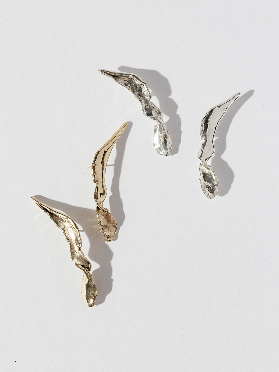FOLIA Earrings by FARIS jewelry, available in bronze and silver