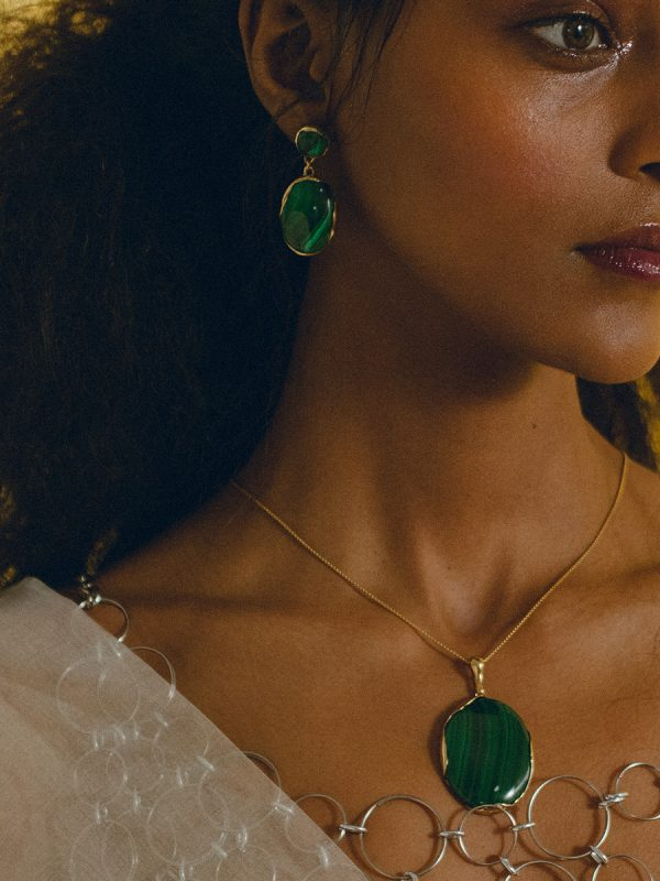Bronze and Malachite OVO Drops by FARIS jewelry