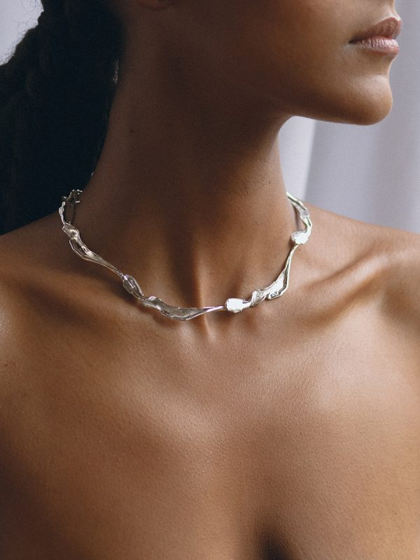FOLIA Collar in Silver by FARIS