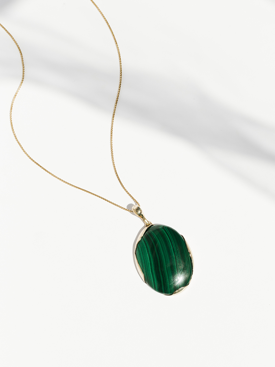 Bronze and Malachite OVO Pendant by FARIS jewelry