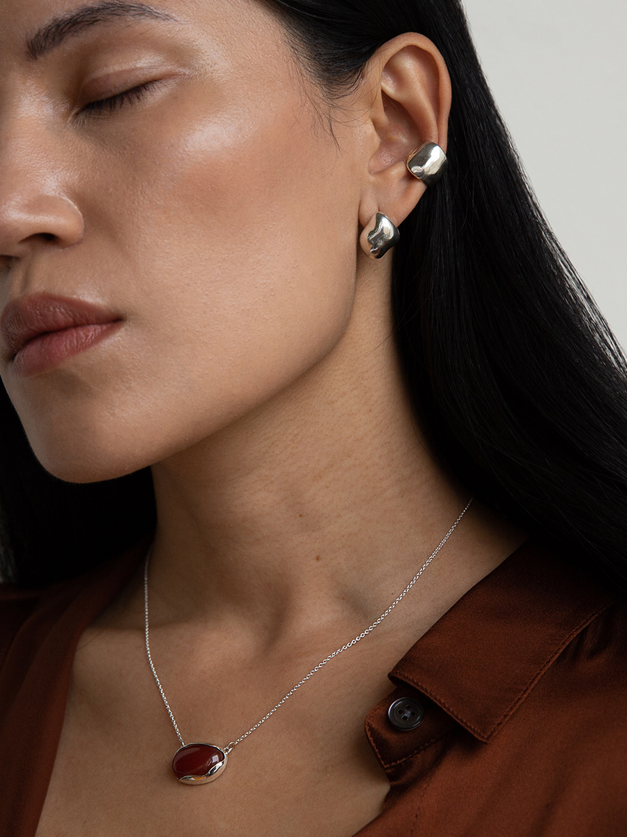 CHUB Hoop and Small BUBBLE Earcuff in Silver by FARIS