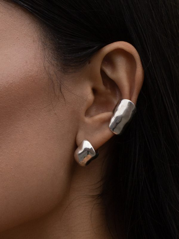 CHUB Hoop and BUBBLE Earcuff in Silver