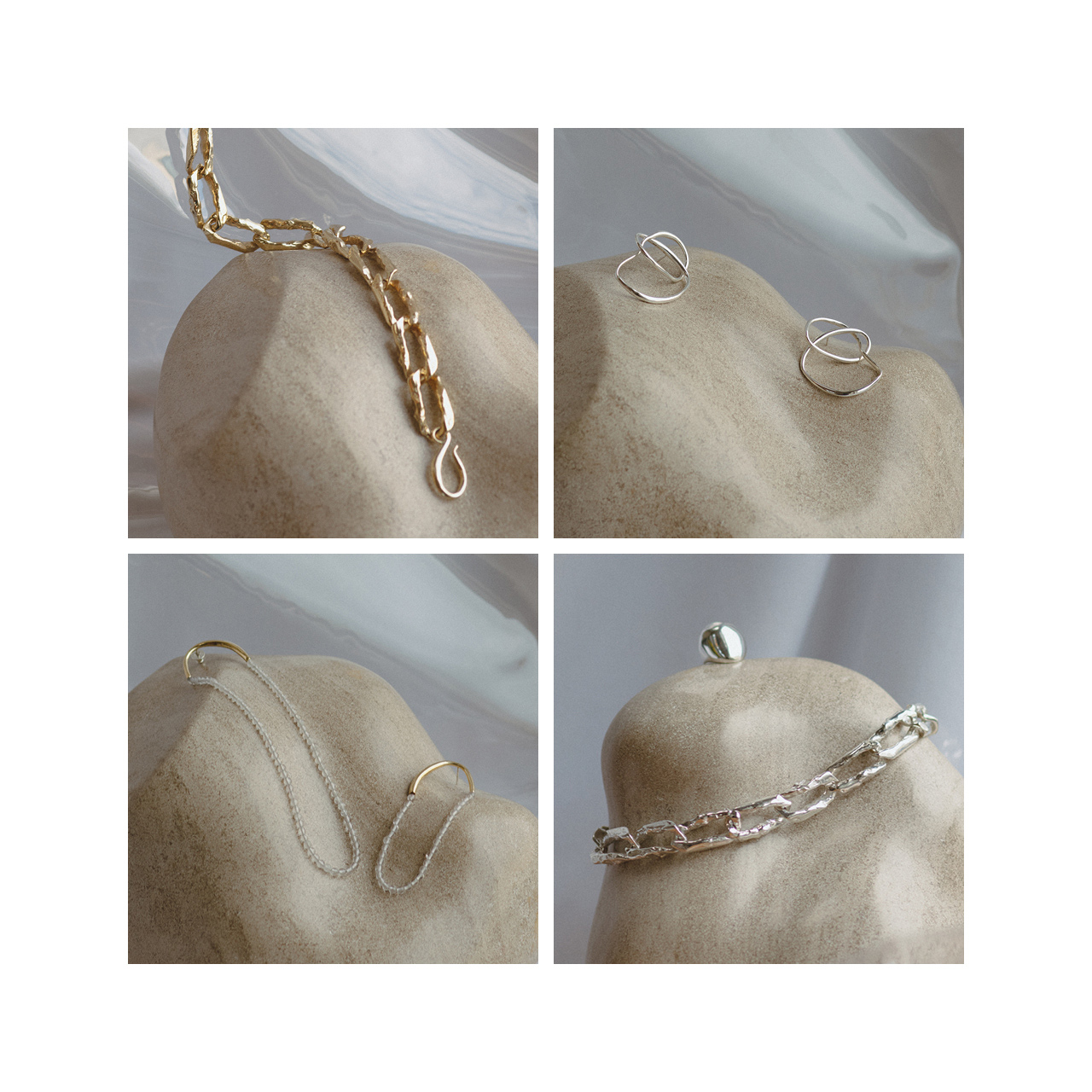 TERRA CHAINs, VINEA KNOT, FILO Earrings and NUEZ Ring by FARIS