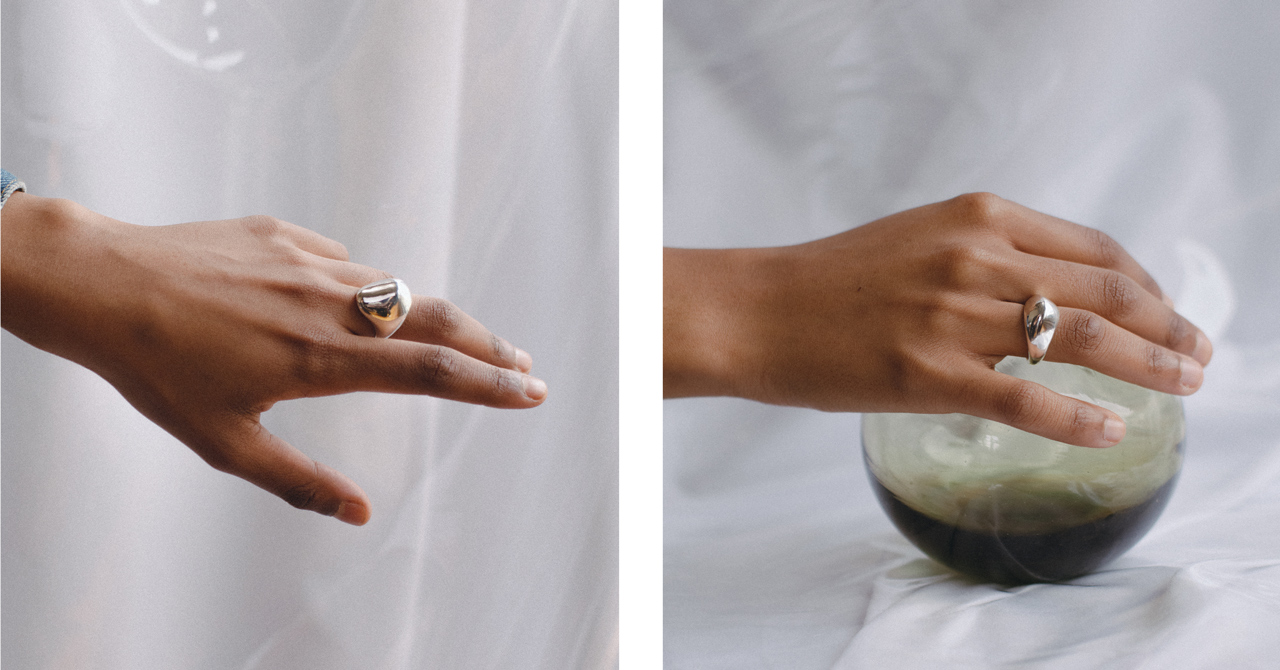 NUEZ Ring and PEAK Ring in Silver by FARIS