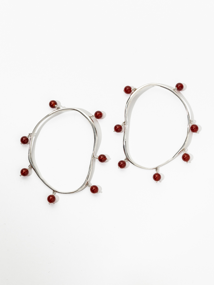 VERRE Hoops in Sterling Silver and Carnelian by FARIS
