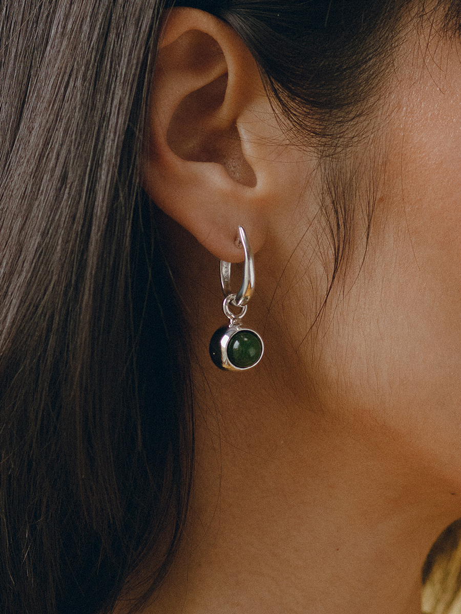 IRIS Hoops in Silver and Jade by FARIS