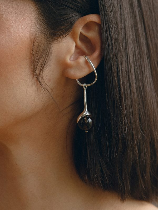 SAPPHO HANG IN STERLING SILVER WITH SMOKEY QUARTZ BY FARIS
