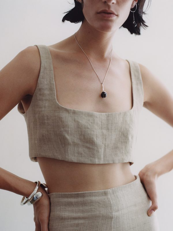 SAPPHO NECKLACE IN STERLING SILVER WITH SMOKEY NECKLACE BY FARIS